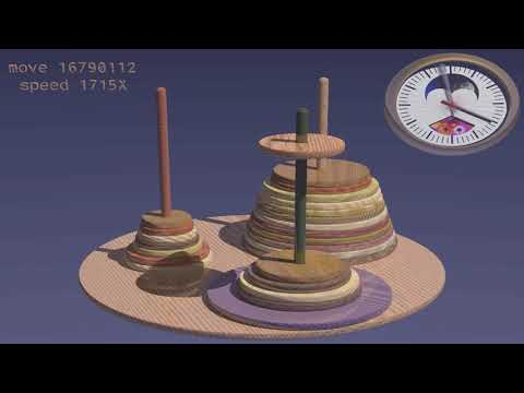solving 25-disc Tower Of Hanoi puzzle in time-lapse |