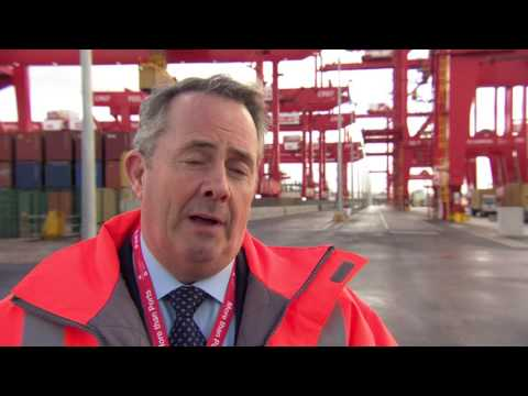 Rt. Hon Dr Liam Fox MP speaking on the Liverpool2 quay