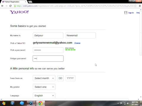 How can i create new yahoo email address