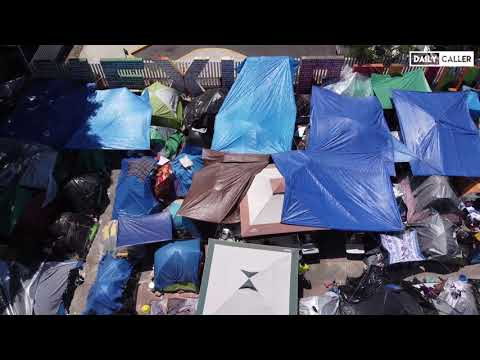Aerial View : Makeshift Migrant Camp In Mexico