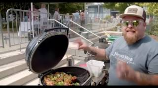 Chef Ben Hester Grilling Chicken Tieups on a Primo Ceramic Grill