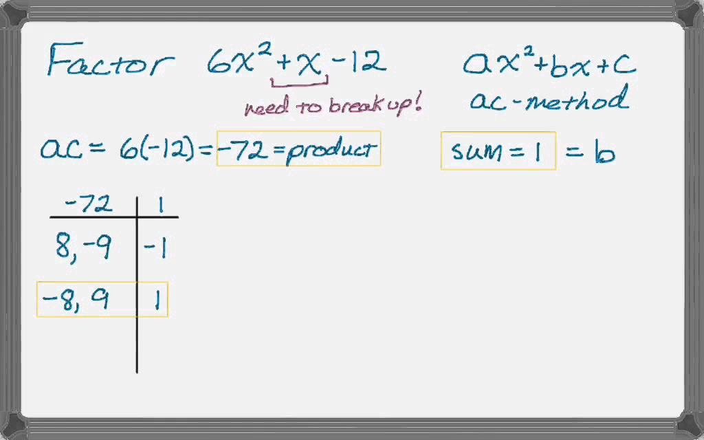 Factoring Trinomials AC Method - 1 - YouTube