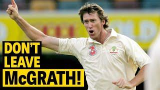 No shot offered! Batsmen leave, McGrath strikes