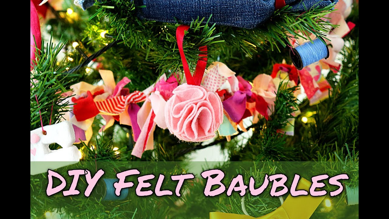 How To Make Christmas Decorations No Sew DIY Felt Baubles - YouTube