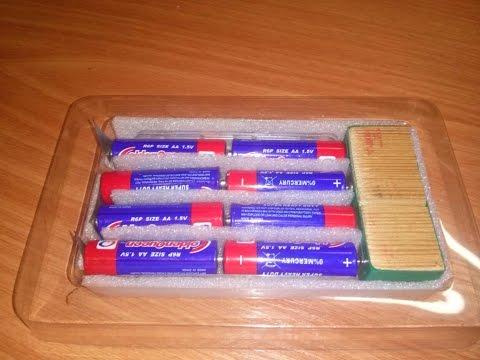 12V источник питания из 8 АА батареек
