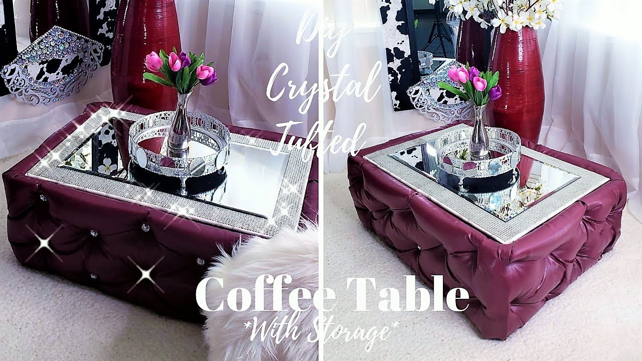 Diy Crystal Tufted Coffee Table With Storage 2019 Storage