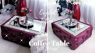 DIY CRYSTAL TUFTED COFFEE TABLE WITH STORAGE!!!| 2019 STORAGE IDEAS!!!