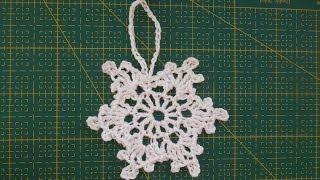 Как связать снежинку крючком. How to crochet snowflake.