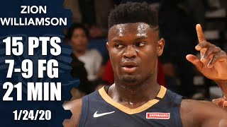 Zion Wiliamson scores 15 points, has monster block vs. Nuggets   2019-20 NBA Highlights