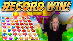 RECORD WIN!! Fruit Party BIG WIN from base game - Online Slots from Casinodaddys live stream