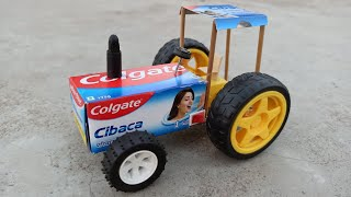 How to make a Colgate Tractor at home - mini tractor - कोलगेट डिब्बे का ट्रैक्टर