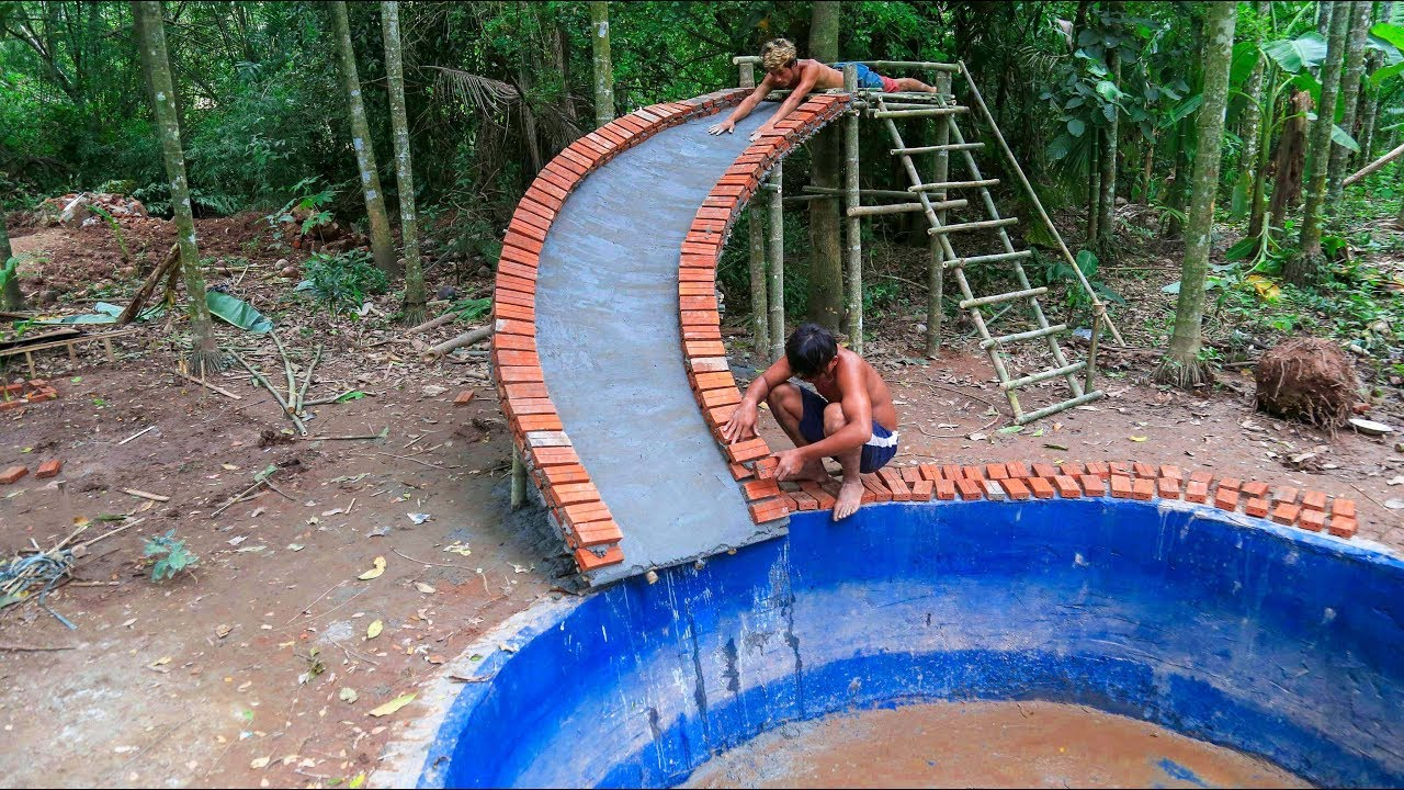 Build water slide swimming pool underground