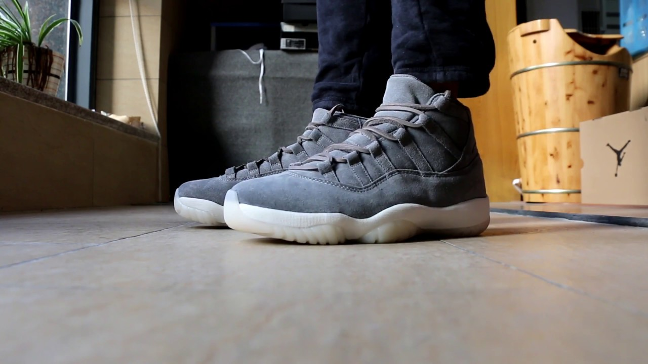 7018e700abaa Air Jordan 11 Grey Suede on feet HD Review From Trade666a.cn daniel ...