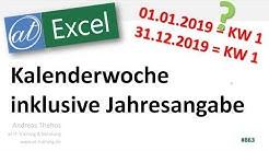 Kalenderwoche inklusive Jahr anzeigen - 31.12.2018 = 2019-01 - Excel