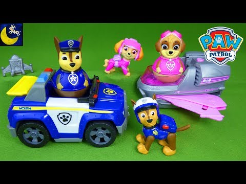 Paw Patrol Toys Chase's Highway Police Cruiser Skye's Rescue Jet Weebles Chase and Skye Toys!