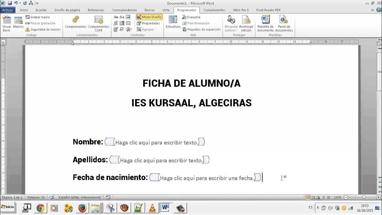 Formularios y plantillas Editor de textos Word OACE FPB2 - YouTube