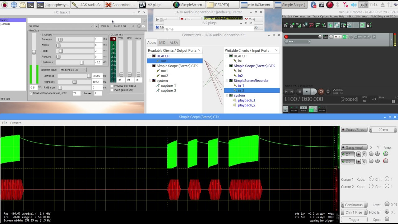 Key a Raspberry Pi - sine wave code practice oscillator - with your CW  KEYER - just like a RIG - pt2