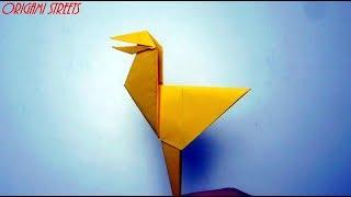 Как сделать весёлую птицу из бумаги. Оригами птица.
