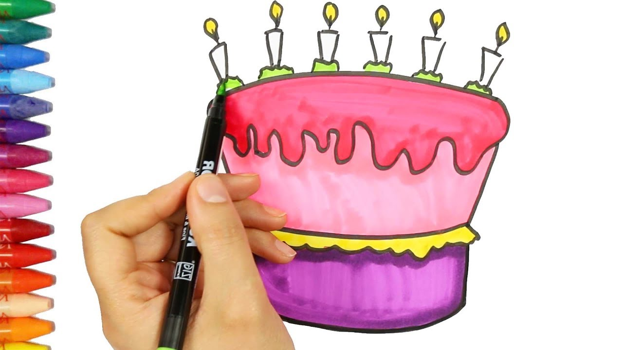 birthday cake drawing and coloring book how to draw and color