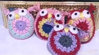 ميدالية مفاتيح كروشية علي شكل بومة crochet owl key chain tutorial