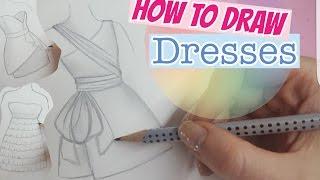 How to draw dresses EASY   Kleider malen     Foxy Draws