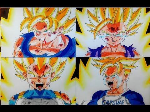 Speed Drawing - Dragon Ball Z - Goku Gohan Vegeta Trunks Super Saiyan