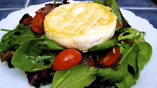 Mixed Green Salad Topped with a Pan Seared Camembert Cheese