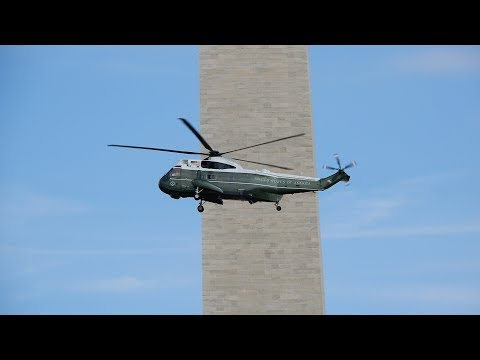 Marine One Flying to pick up President Trump