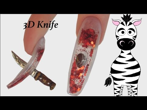 3D Knife Acrylic Nail Art Tutorial | Aquarium | Halloween ...