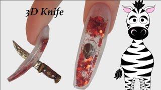 3D Knife Acrylic Nail Art Tutorial | Aquarium | Halloween