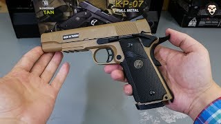 kJW Colt 1911A1 M.E.U. Tan (Blowback) видео обзор