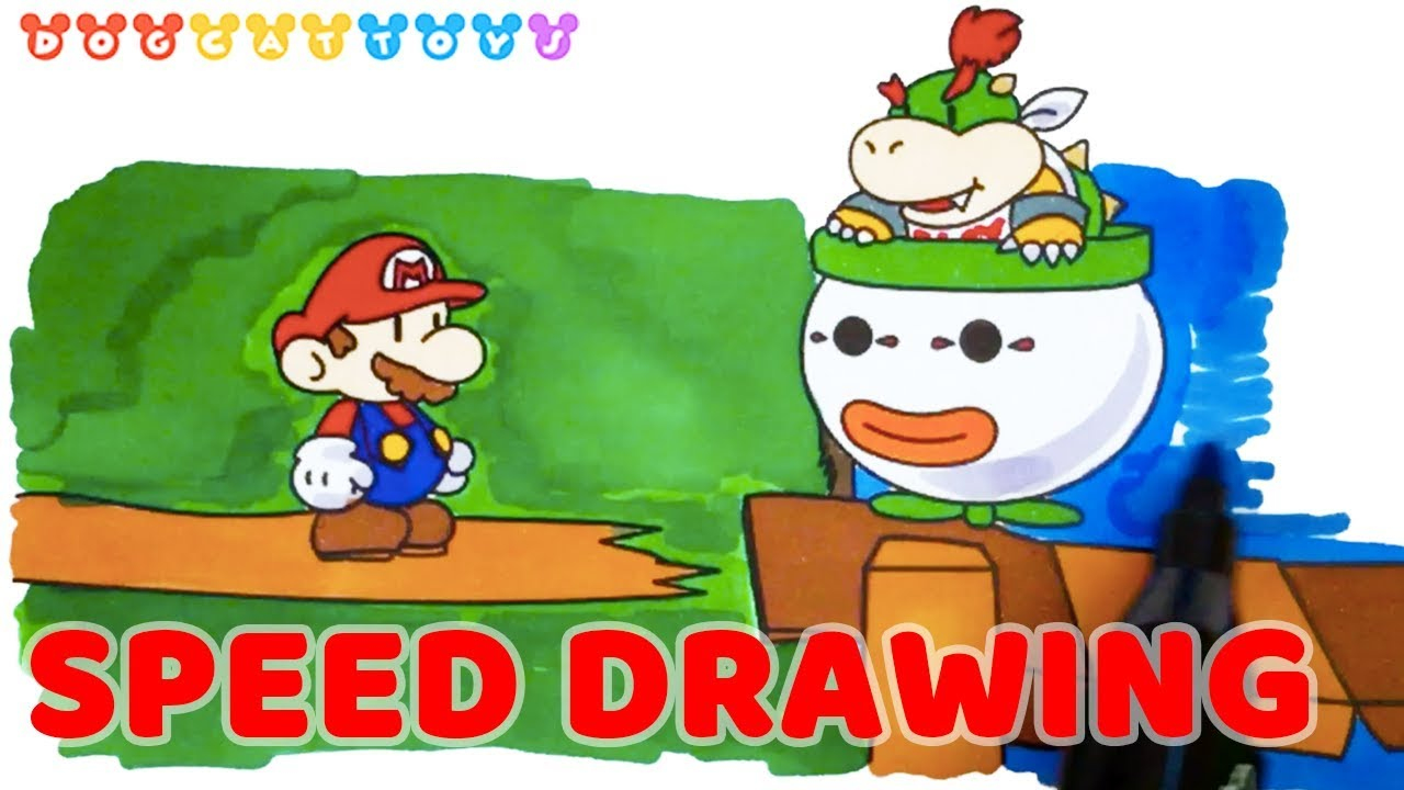 Speed Drawing Super Mario Mario Bowser Jr Drawing Coloring Pages Videos For Kids