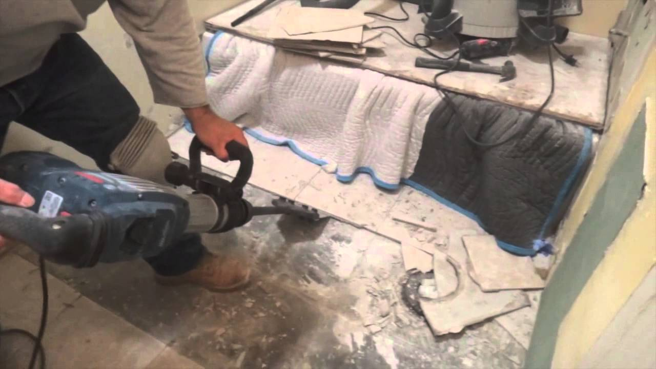 Removing Tiles with SDS Max Floor Scrapers - YouTube