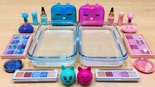 pink-vs-blue-mixing-makeup-eyeshadow-into-clear-slime-special-series-59-satisfying-slime-videos
