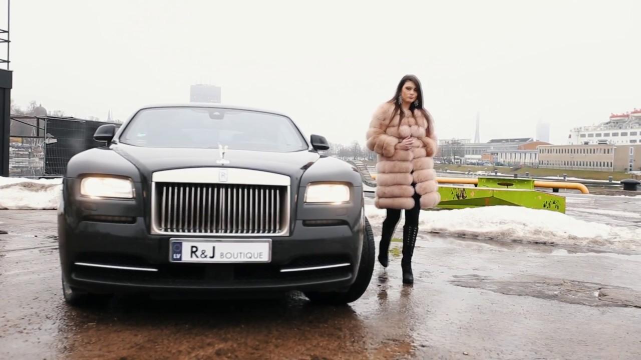 rampj boutique luxury fur coat brand rolls royce wraith girl