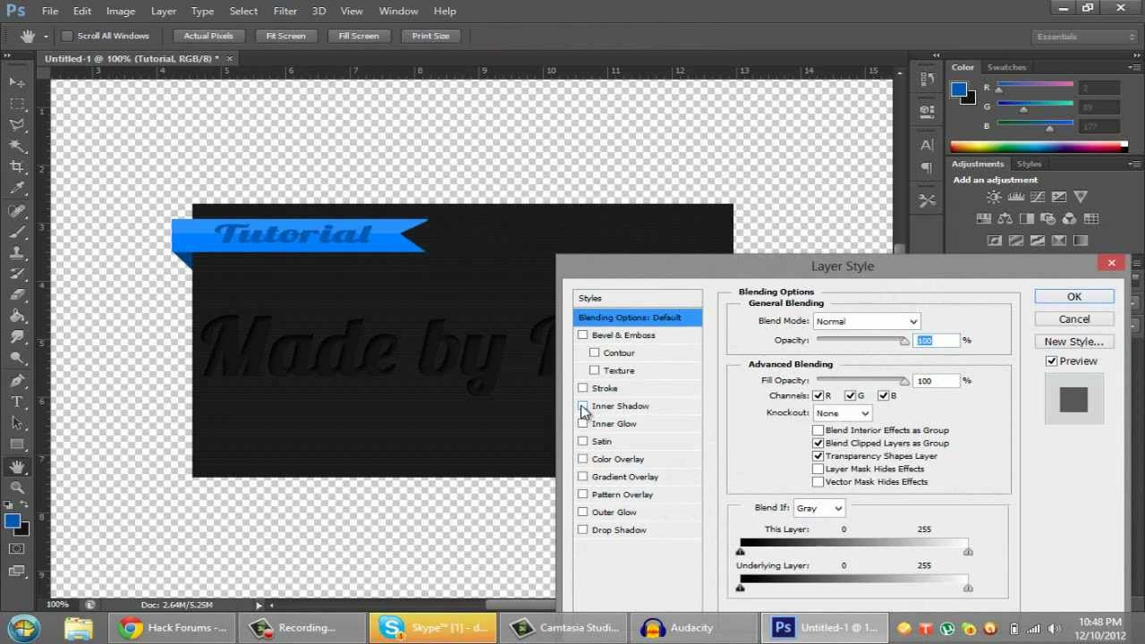 photoshop cs6 ribbon thread design and embossed text tutorial