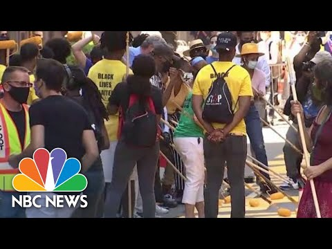 Watch: Black Lives Matter Mural Painted On Fifth Avenue In Front Of Trump Tower | NBC News NOW
