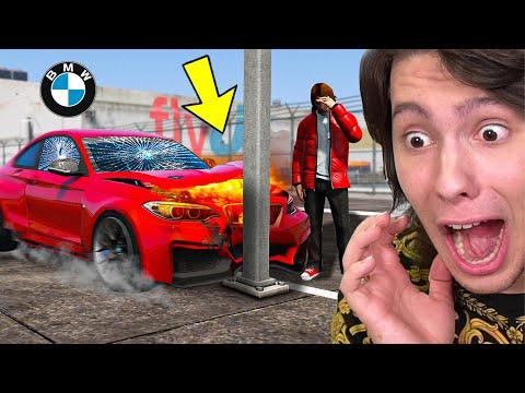BATI MINHA NOVA BMW EM UM POSTE NO GTA 5!!