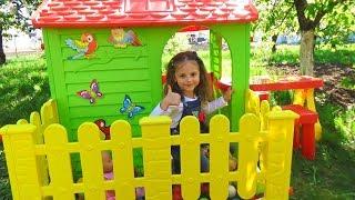 ДОМИК детский игровой СТРОИМ для детей Настя с КУКЛАМИ Саша в ГАМАКЕ