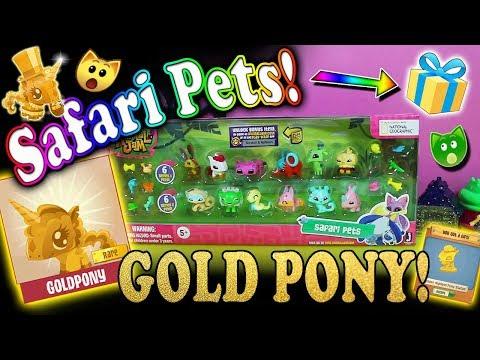 SAFARI PETS OPENING! RARE GOLDEN PONY + PROMO STATUE ON ANIMAL JAM!