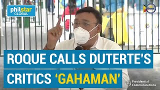 Roque calls Duterte's critics 'gahaman,' says Dizon is the best testing czar in the world
