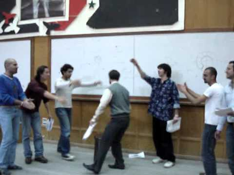 Rehearsing with Colleagues at Damascus University Stage 2006