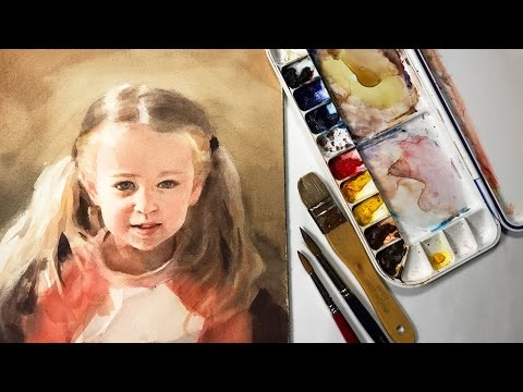 Watercolor Portrait Painting Of A Young Girl Full Lesson