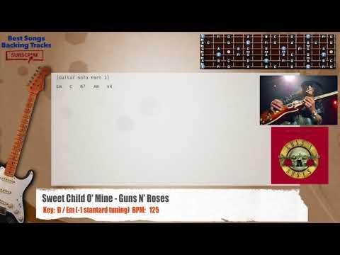 Sweet Child O' Mine - Guns N' Roses Guitar Backing Track With Chords And Lyrics