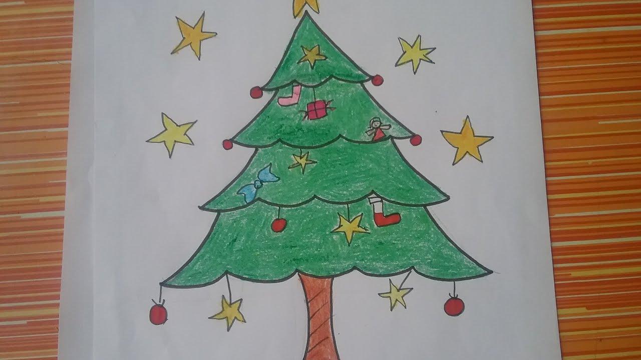 How To Draw Christmas Tree Easily Christmas Tree Drawing Youtube