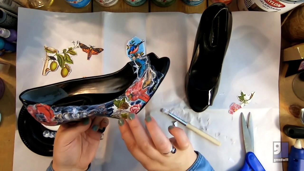 How-To: DIY Mod Podge Decoupage Shoe Makover - YouTube