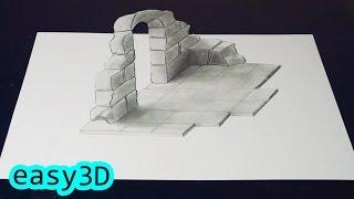 Простой 3D рисунок Как нарисовать иллюзию Арка 3D(Попробуй сам повторить этот простой 3D рисунок . Посмотри это видео и это тебе поможет нарисовать иллюзию..., 2017-01-04T16:29:09.000Z)