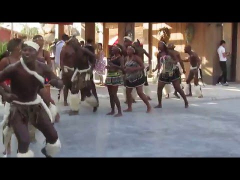 "Zulu Dancers singing a gospel song; ""Oh Msindisi"""