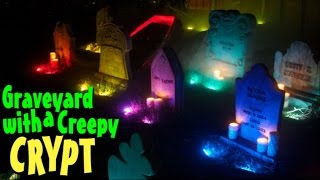 Haunted Graveyard With Old Mausoleum Halloween Yard Display
