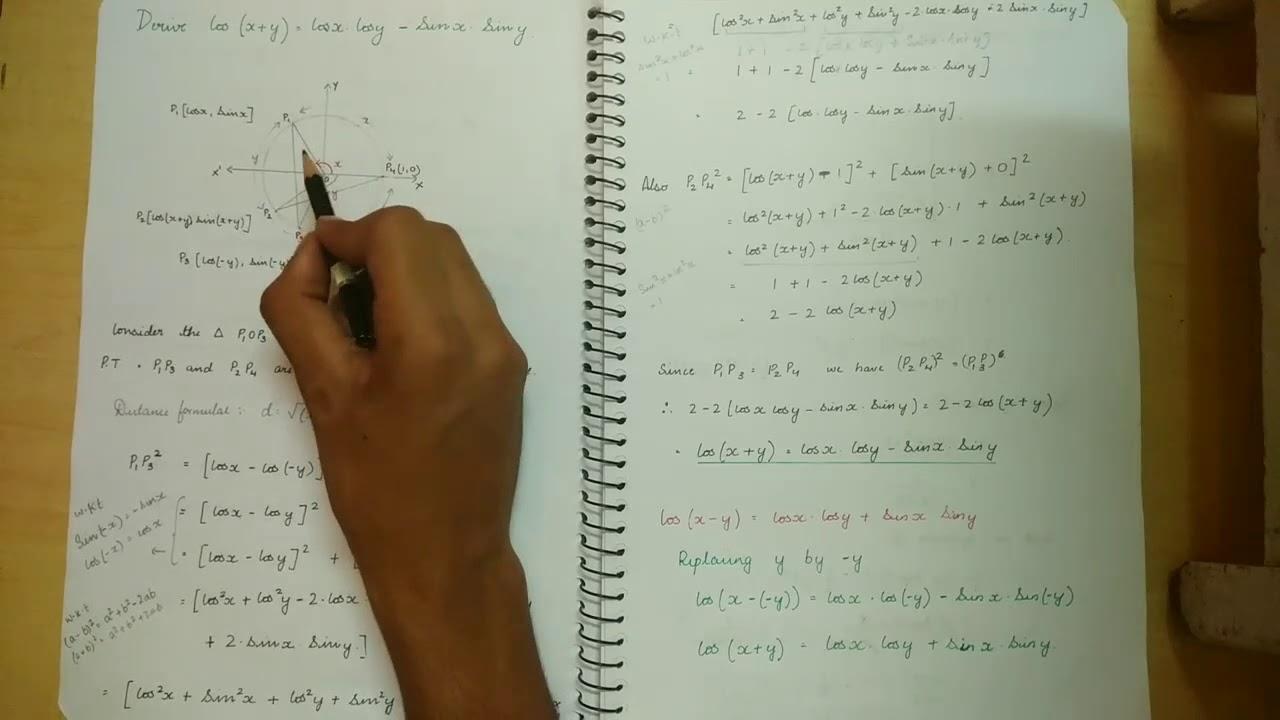 {6 MARKS}   Derive Cos(x+y)= cosX CosY - SinX SinY